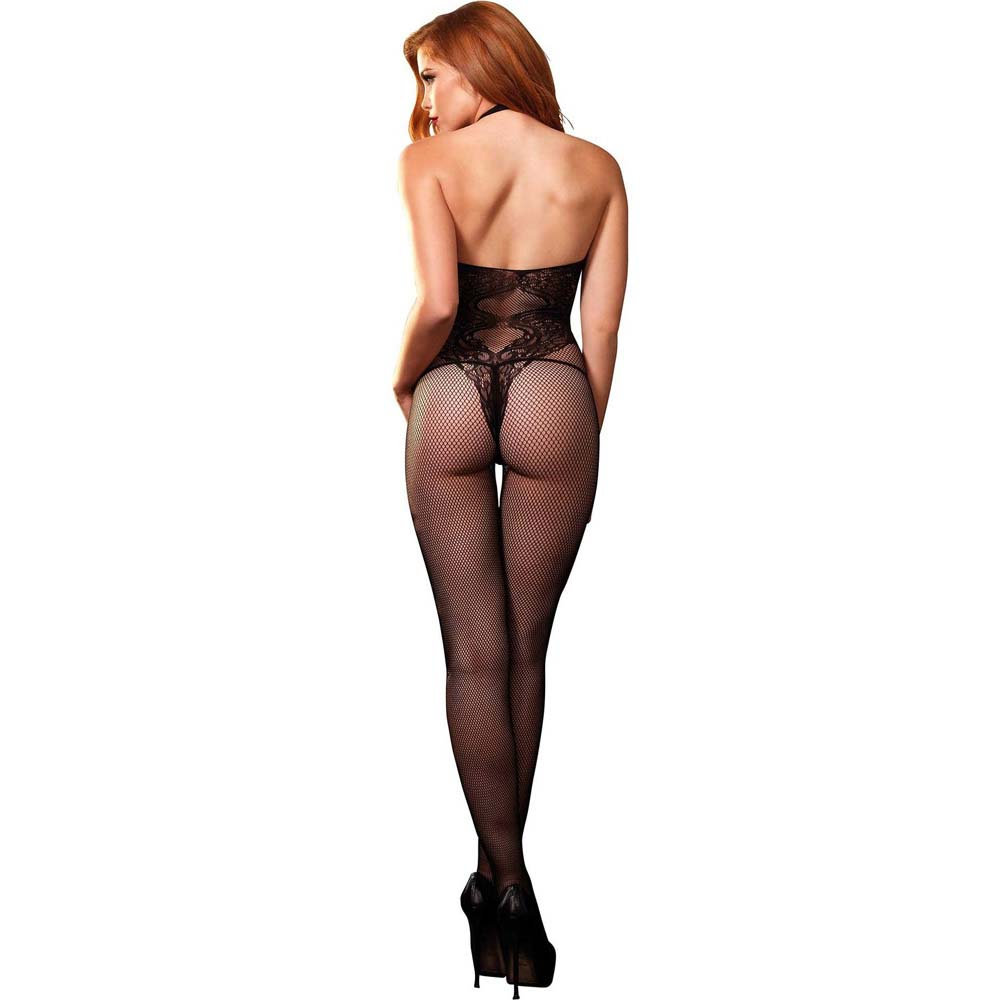 Leg Avenue Fishnet Halter Bodystocking with Floral Lace Hourglass Detail One Size Black - View #2