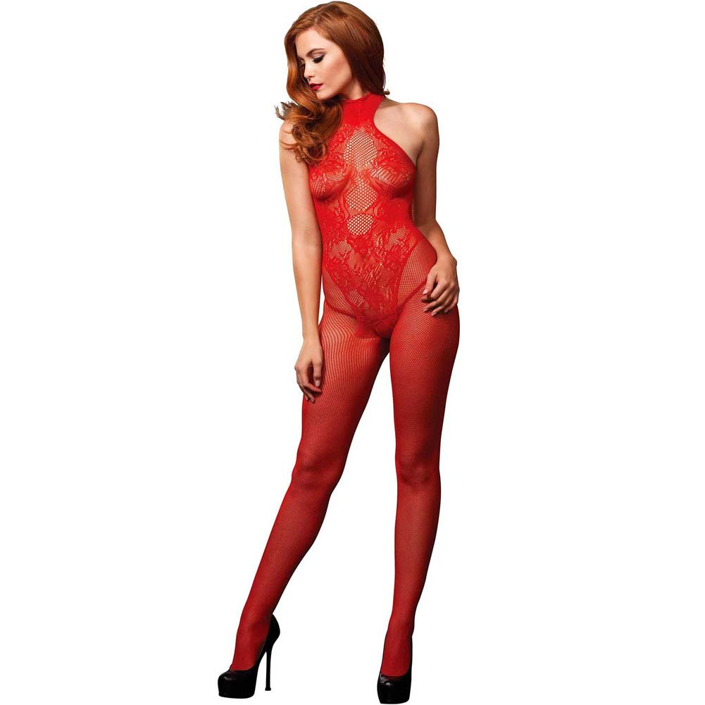 Leg Avenue Fishnet Halter Bodystocking with Floral Lace Hourglass Detail One Size Red - View #1
