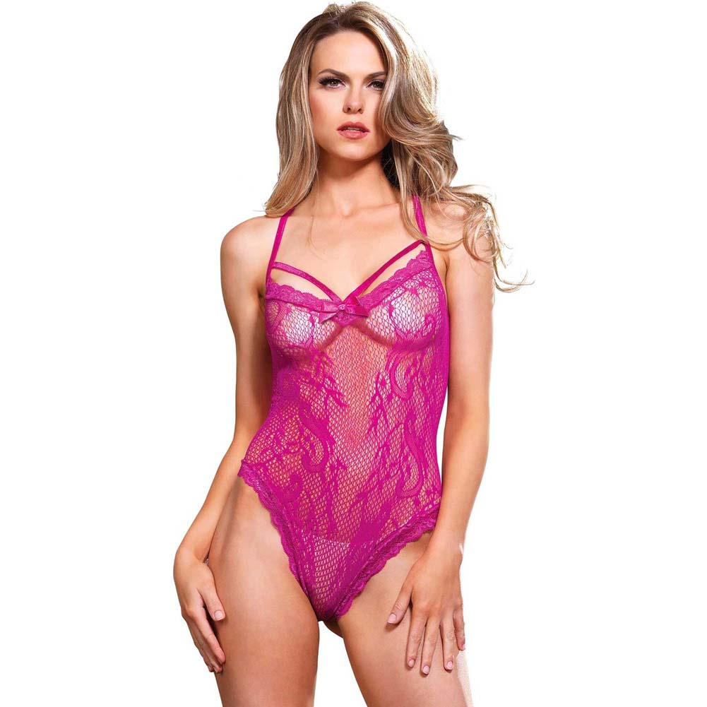 Leg Avenue Stretch Lace Cage Strap Thong Teddy with Back Straps One Size Hot Pink - View #1