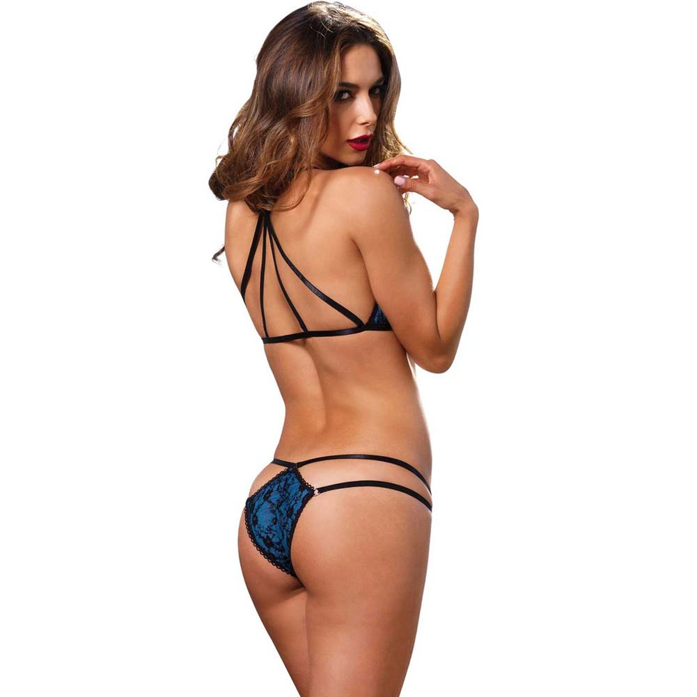 Leg Avenue 2 Piece Strappy Bikini Bra Top with Lace and Matching Panty Small/Medium Blue - View #2