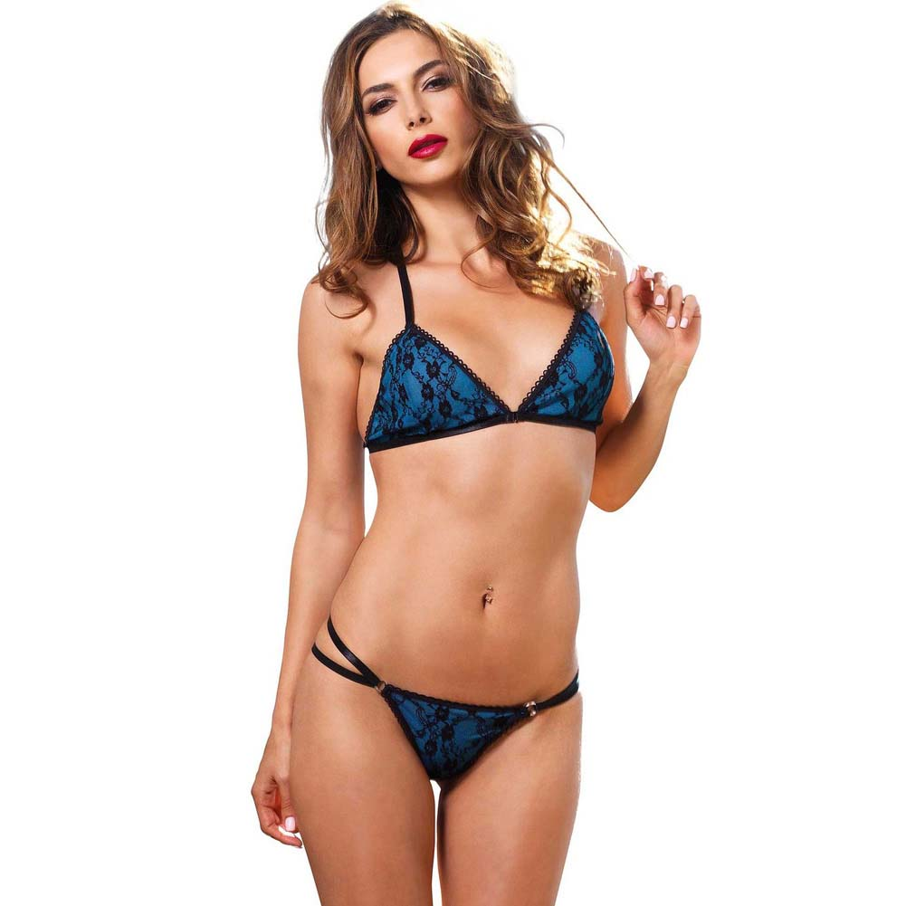 Leg Avenue 2 Piece Strappy Bikini Bra Top with Lace and Matching Panty Medium/Large Blue - View #1
