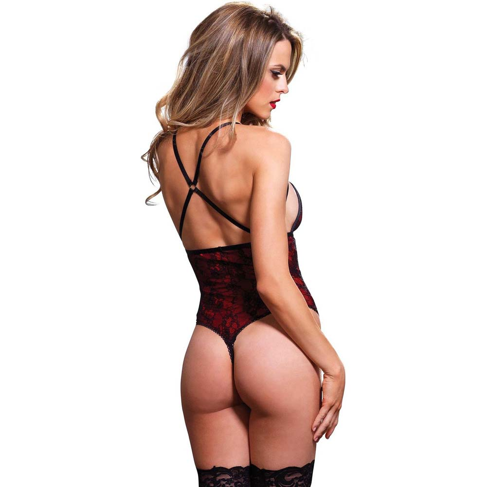 Leg Avenue Cage Strap G-String Teddy with Floral Lace Overlay Small/Medium Red - View #2