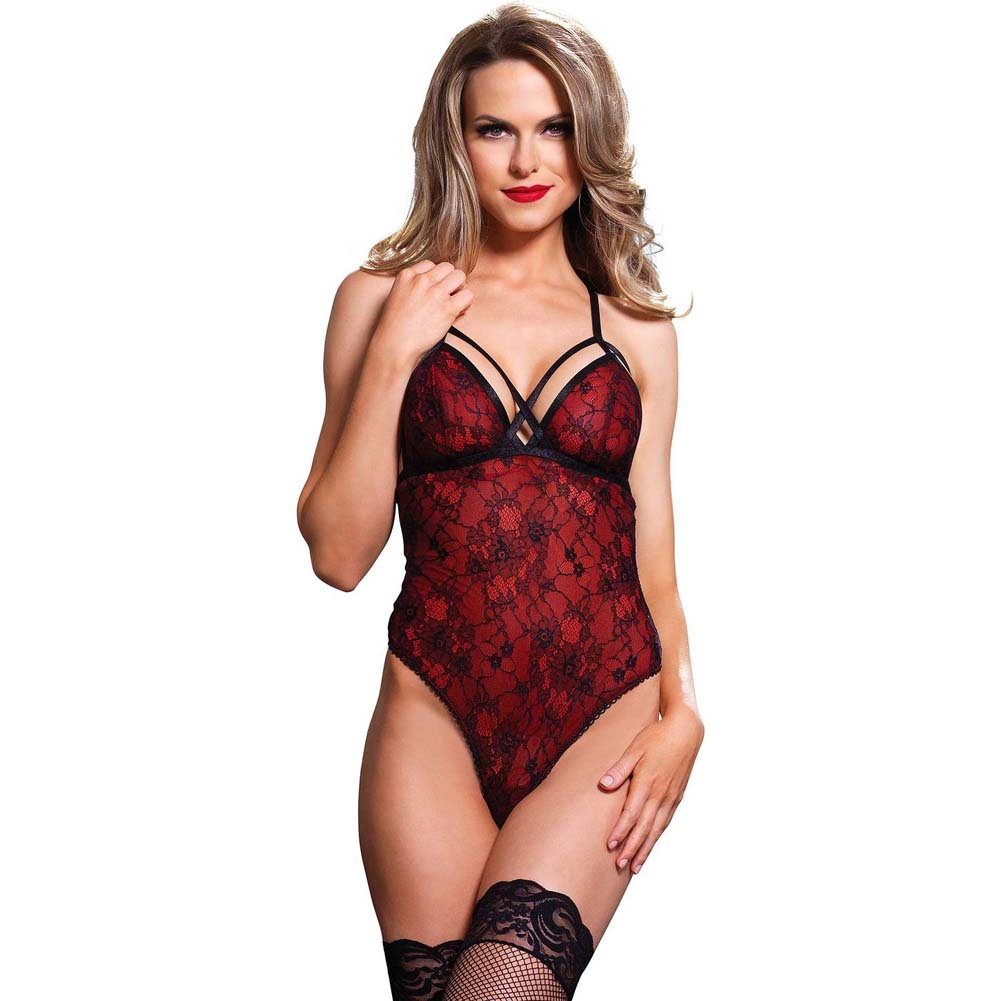 Leg Avenue Cage Strap G-String Teddy with Floral Lace Overlay Medium/Large Red - View #1