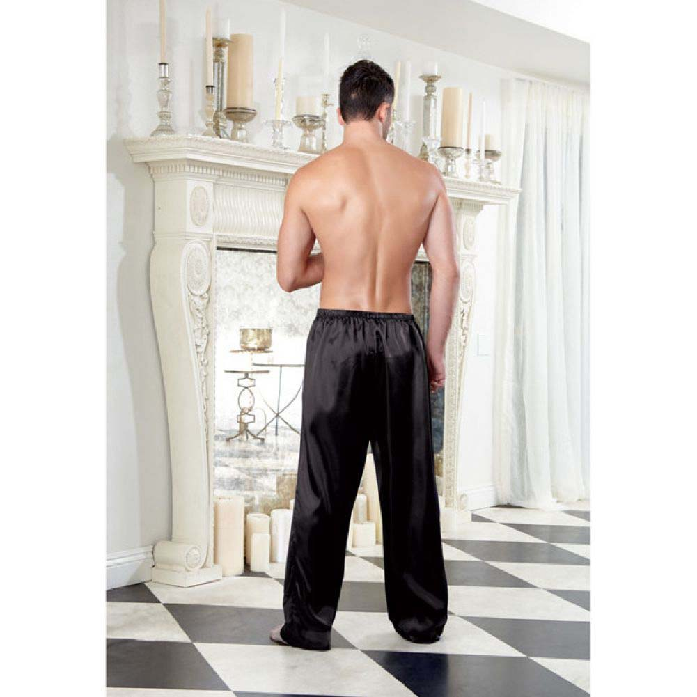Dreamgirl Lingerie Charmeuse Pajama Pants with Drawstring Medium Black - View #4