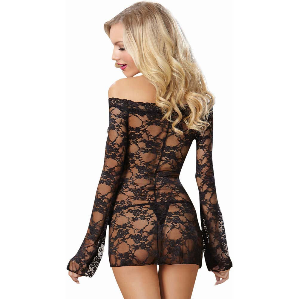 Dreamgirl Lingerie Stretch Lace Off-Shoulder Chemise Small Black - View #2