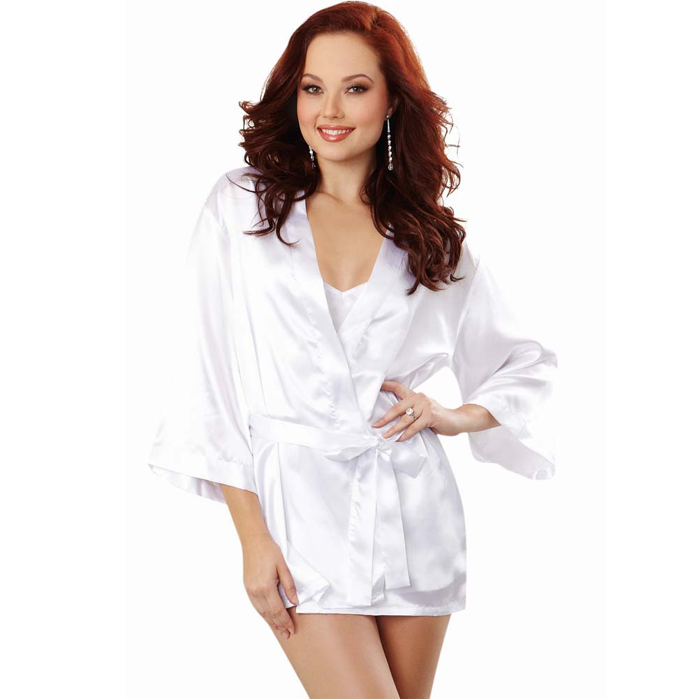 Dreamgirl Lingerie Nuptial Bride Charmeuse Robe and Babydoll Small White - View #1