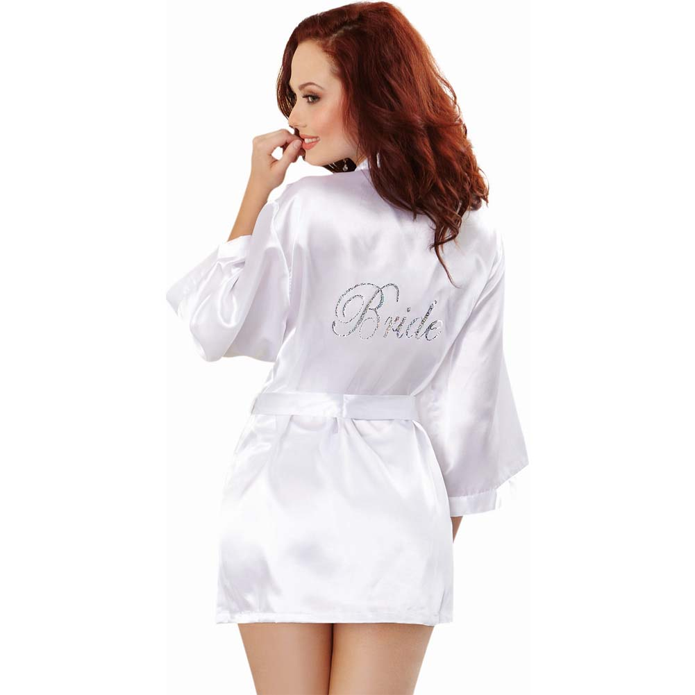 Dreamgirl Lingerie Nuptial Bride Charmeuse Robe and Babydoll Large White - View #2