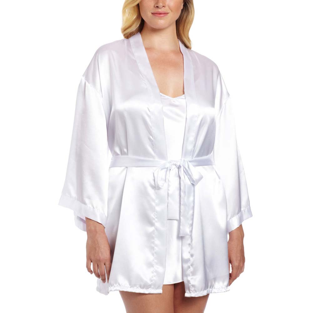 Dreamgirl Nuptial Bride Charmeuse Robe and Babydoll 1X/2X White - View #1