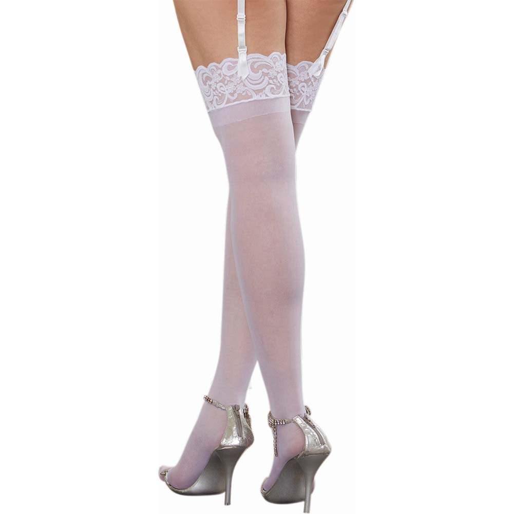 Dreamgirl Sheer Thigh High with Lace Top One Size Queen White - View #2