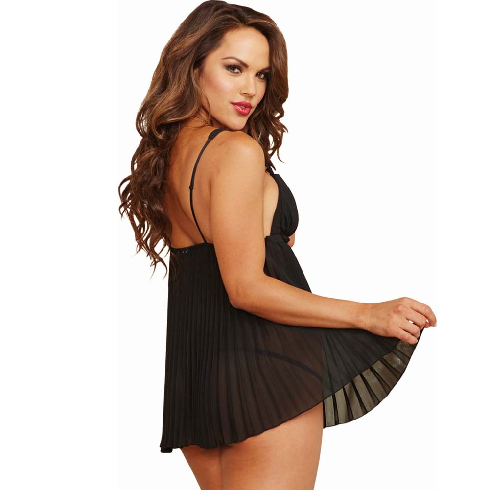 Dreamgirl Lingeire Pleated Chiffon Babydoll and Thong 3X/4X Black - View #2