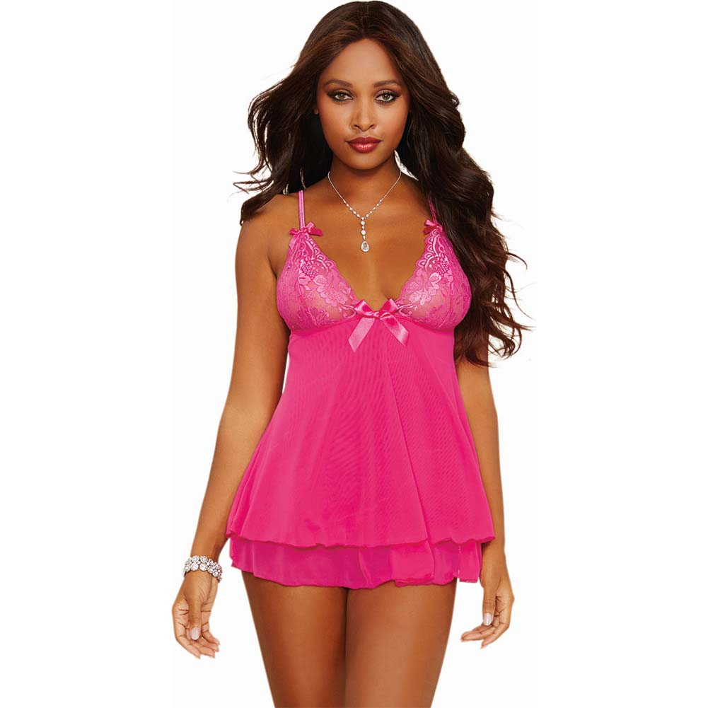 Dreamgirl Lingerie Stretch Lace Mesh Flyaway Back Babydoll and Thong Small Fuchsia - View #1