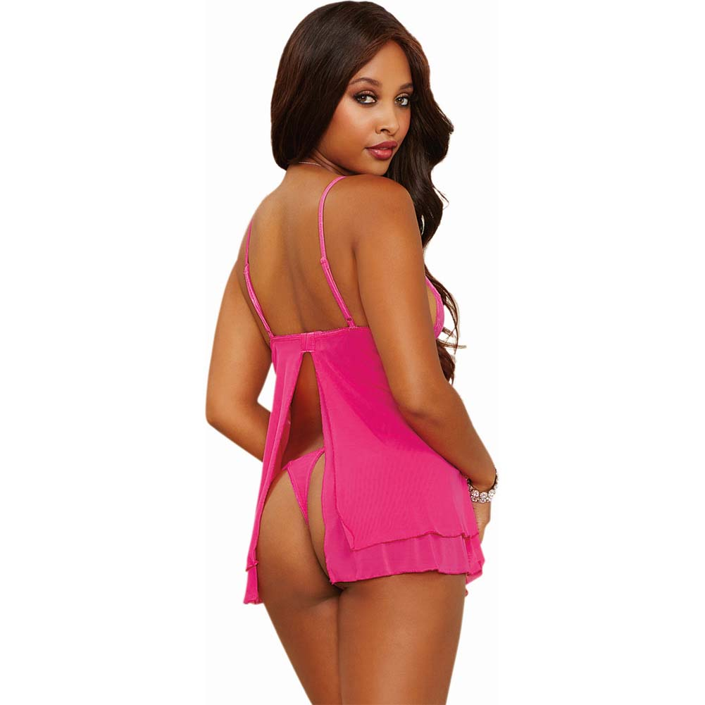 Dreamgirl Lingerie Stretch Lace Mesh Flyaway Back Babydoll and Thong Medium Fuchsia - View #2
