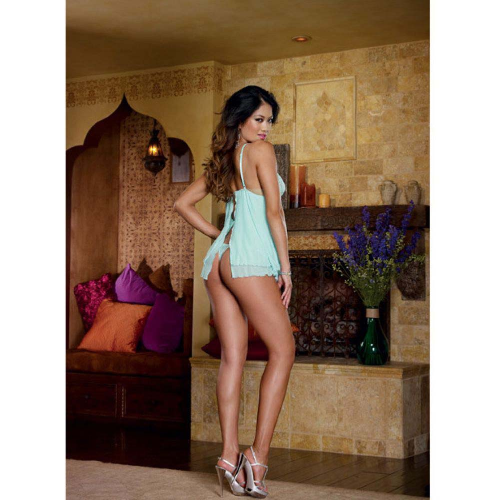 Dreamgirl Lingerie Stretch Lace Mesh Flyaway Back Babydoll and Thong Small Aqua - View #4