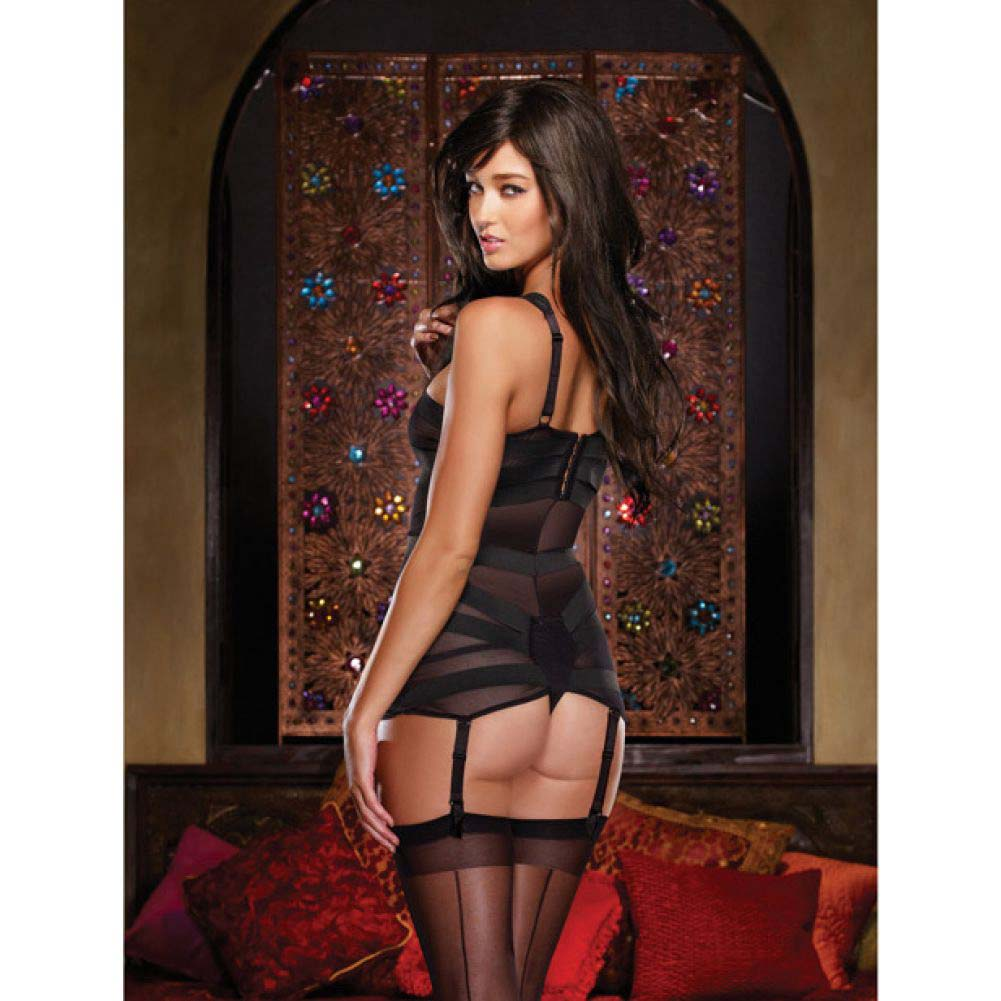 Dreamgirl Lingerie Stretch Mesh Spandex Elastic Teddyand Garters Small Black - View #4