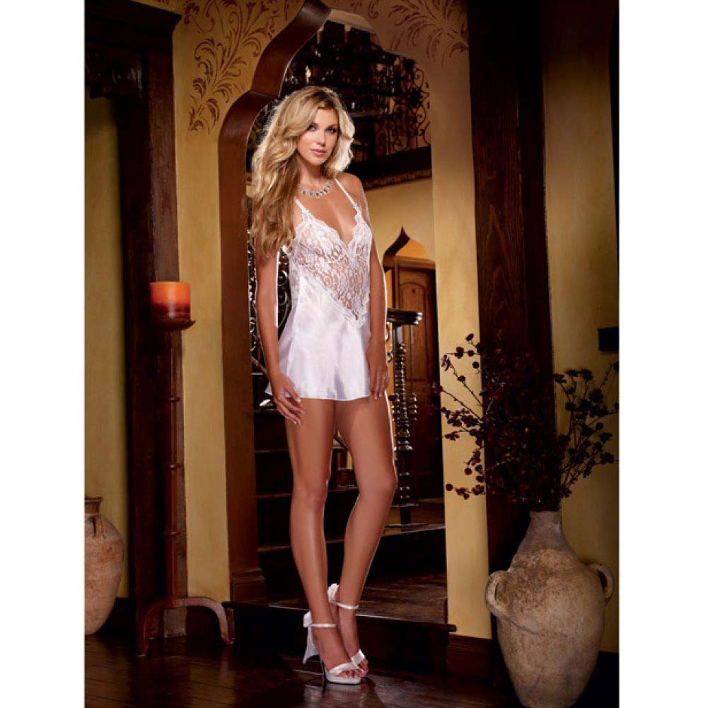 Dreamgirl Nuptial Satin Charmeuse Chemise Set with Scalloped Lace Trim Medium White - View #3