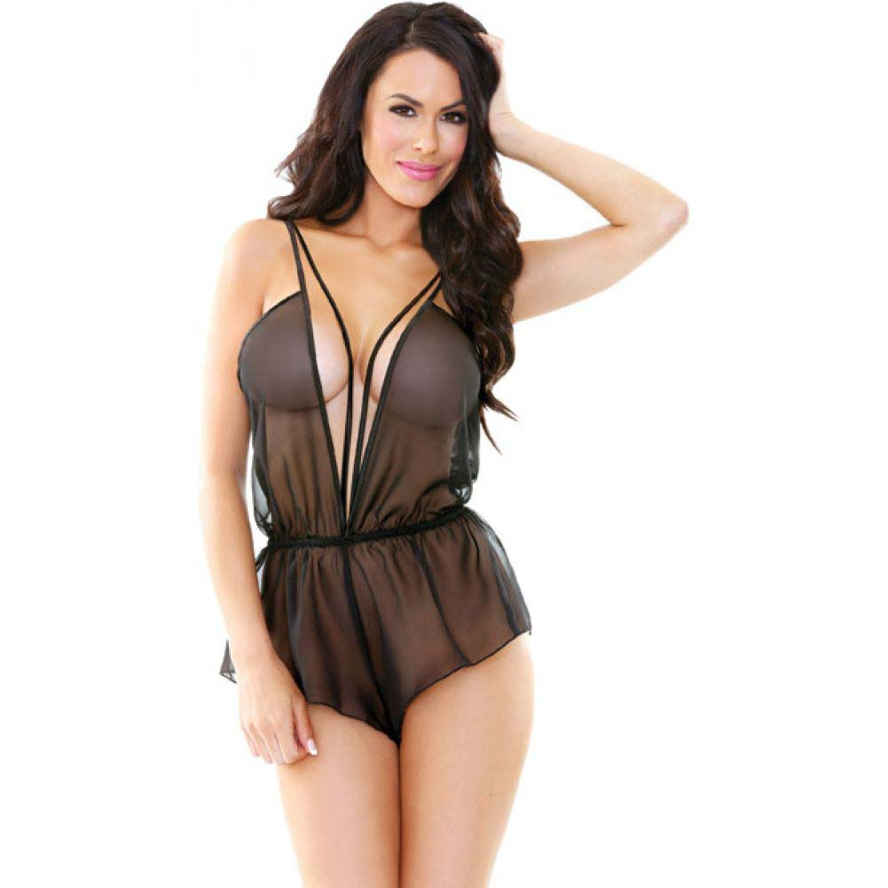 Fantasy Lingerie Romp Sheer Chiffon Romper with Plunging Neckline Medium/Large Black - View #2