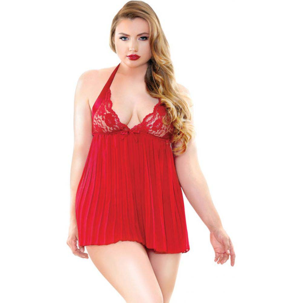 Fantasy Lingerie Curve Valerie Pleated Babydoll and G-String 1X/2X Red - View #1