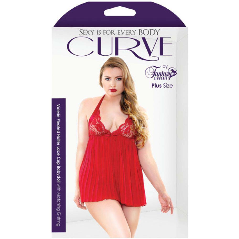 Fantasy Lingerie Curve Valerie Pleated Babydoll with G-String 1X/2X Red - View #3
