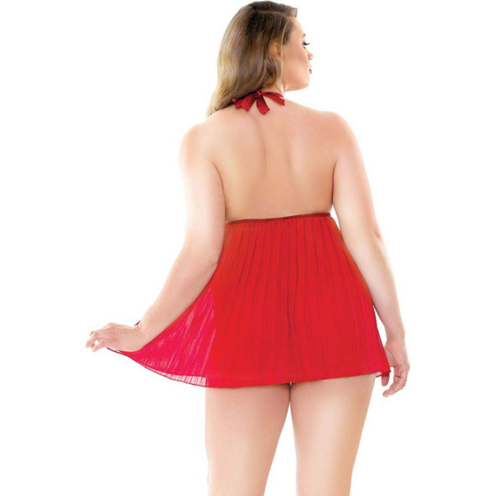 Fantasy Lingerie Curve Valerie Pleated Babydoll and G-String 3X/4X Red - View #2