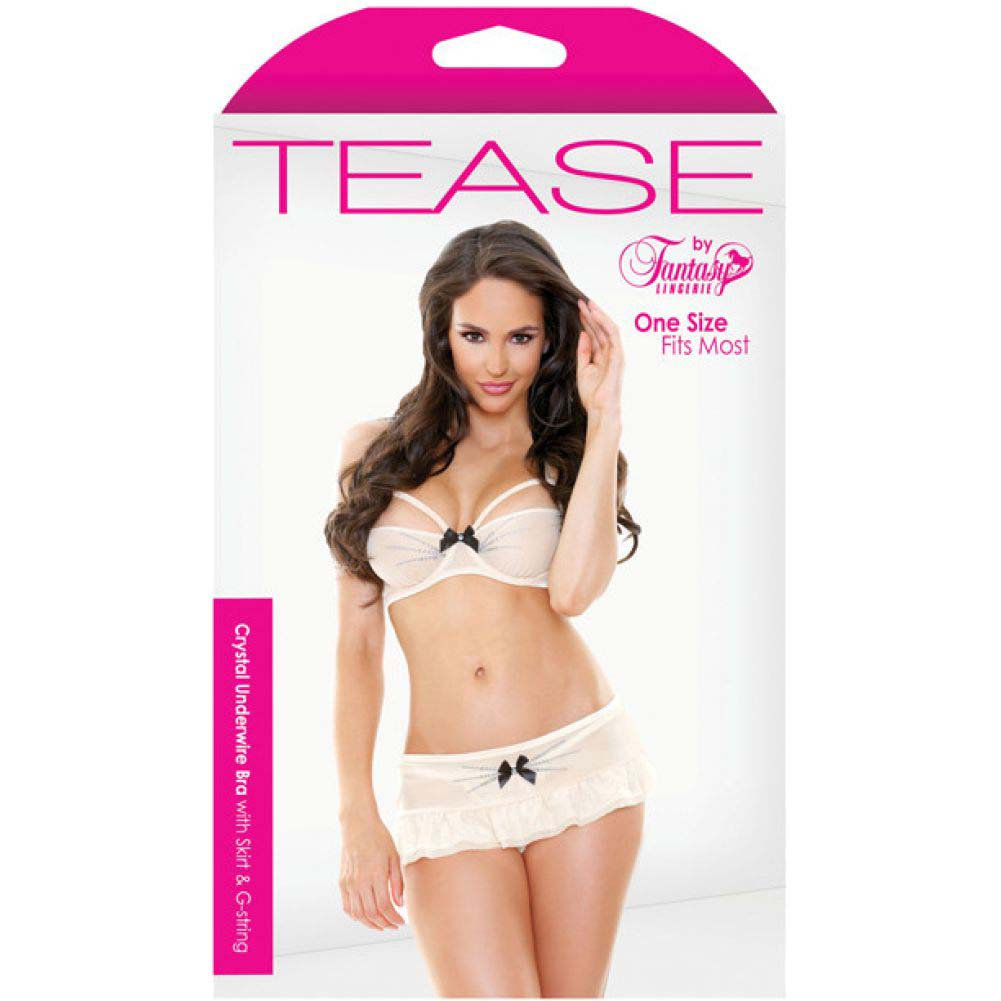 Fantasy Lingerie Tease Crystal Underwire Bra Skirt G-String One Size Cream - View #3