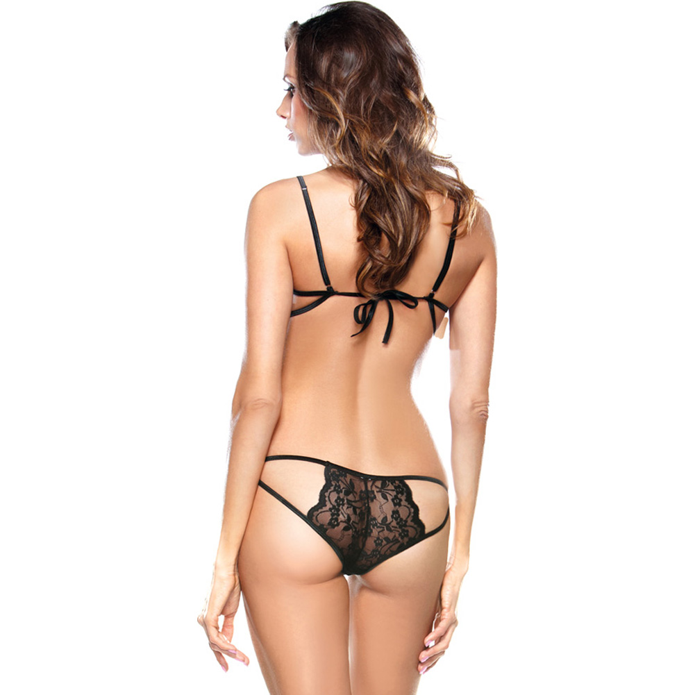 Fantasy LingerieTease Stretch Lace Bra and Cut Out Panty One Size Black - View #2