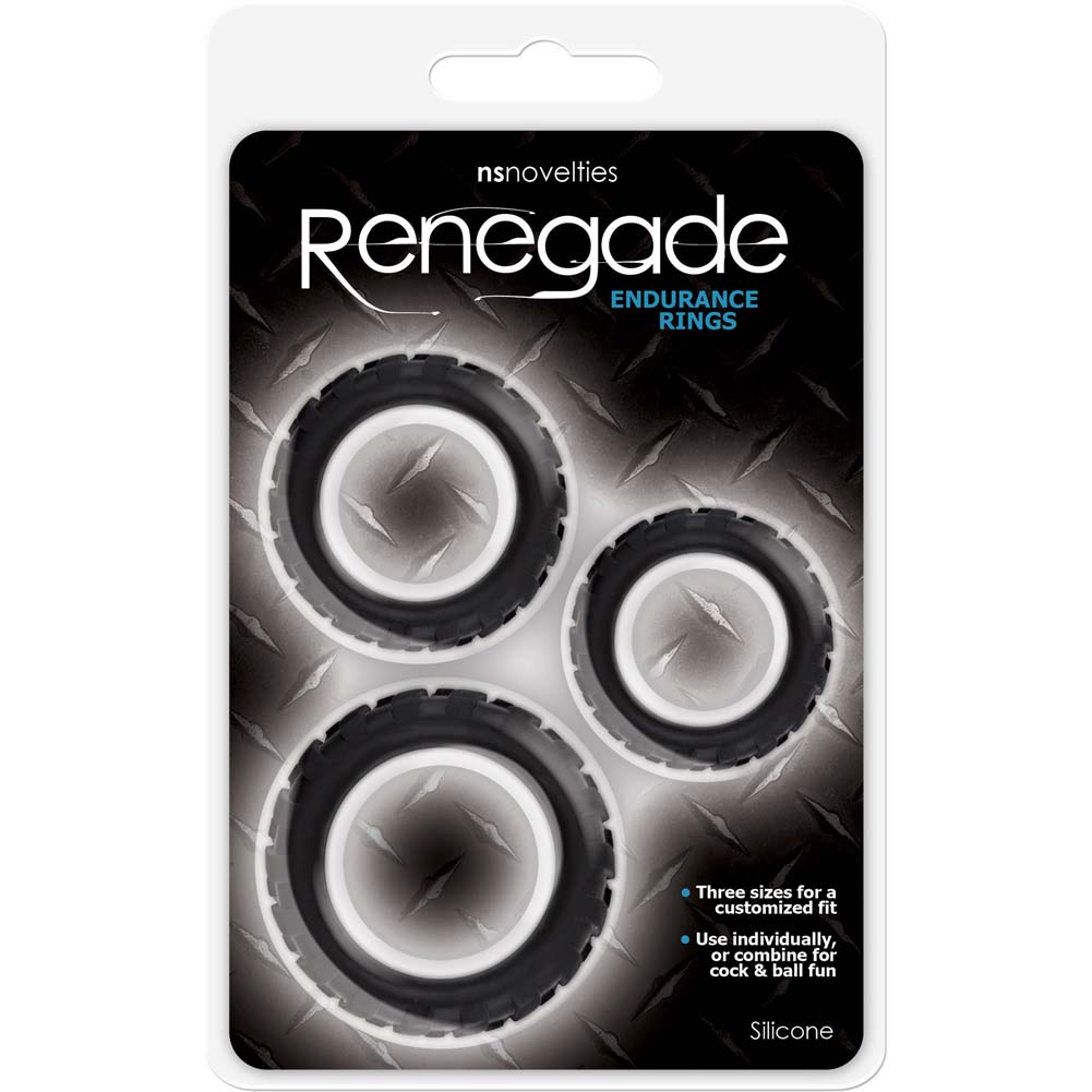 NS Novelties Renegade Endurance Rings Silicone Cockrings Black Set of 3 - View #1