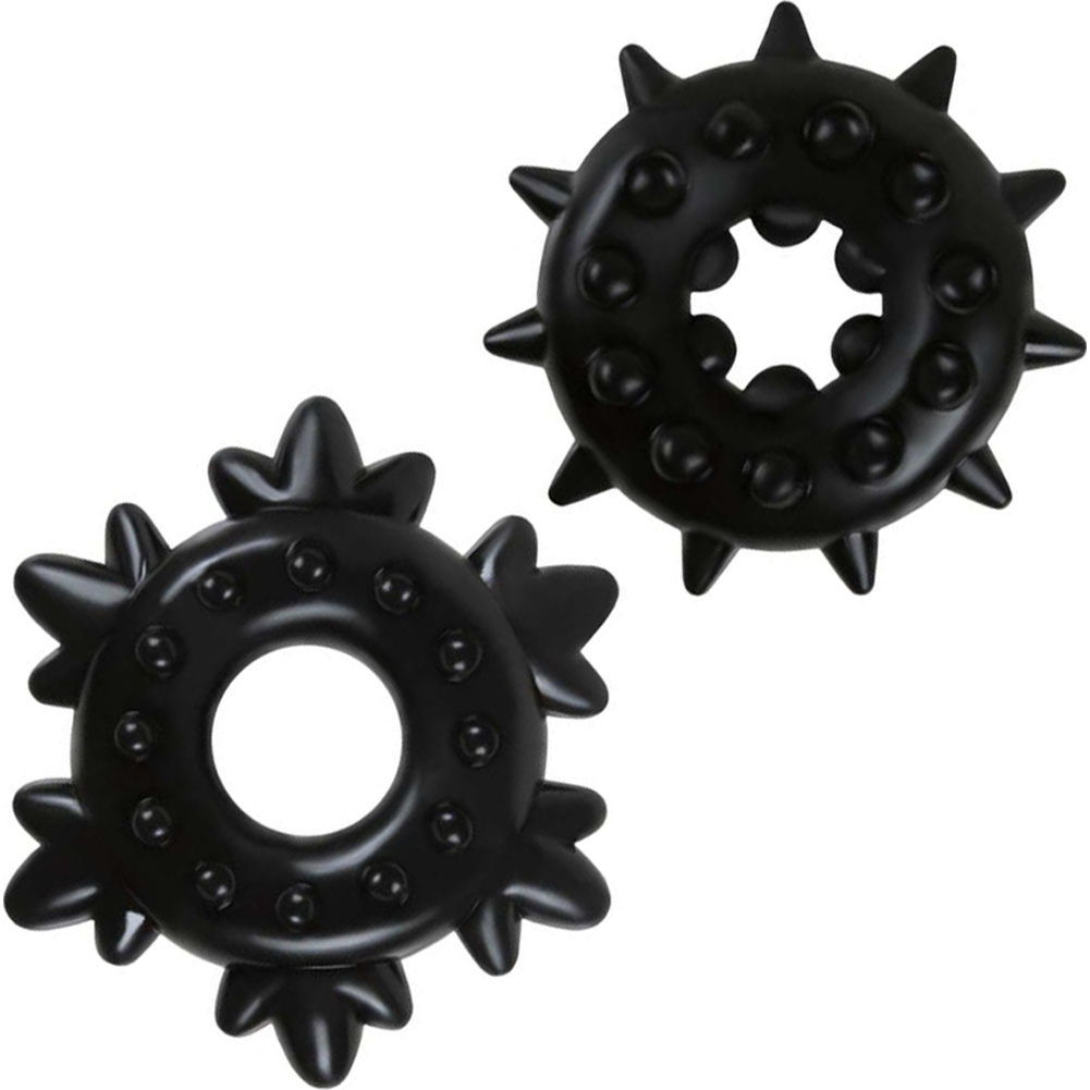 NS Novelties Renegade Spike Cockrings Black Set of 2 - View #2