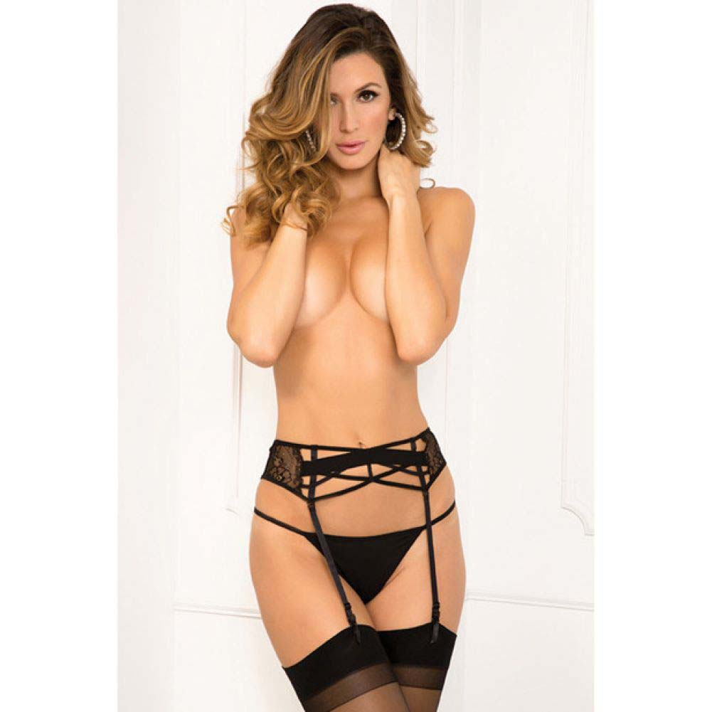 Rene Rofe Lace Criss Cross Garter Medium/Large Black - View #1