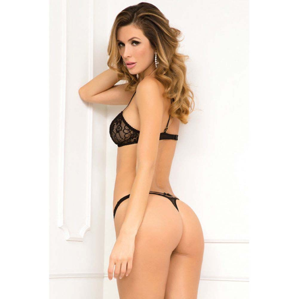 Rene Rofe 2 Piece Strapped in Bra and Thong Set Small/Medium Black - View #2