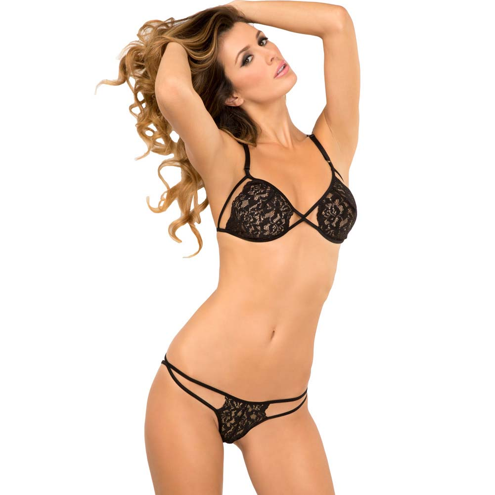 Rene Rofe Side Business Lace Bra and Panty Set One Size Black - View #1