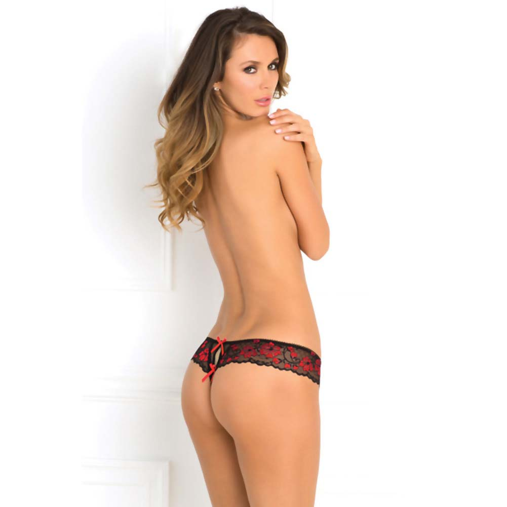 Rene Rofe Crotchless Lace Thong with Bows Medium/Large Red - View #4