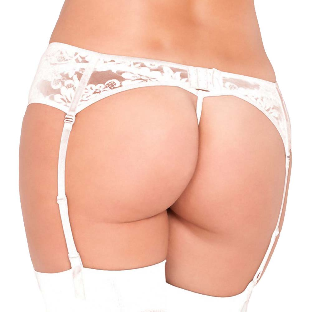 Rene Rofe Lace Garter Belt Medium/Large White - View #2