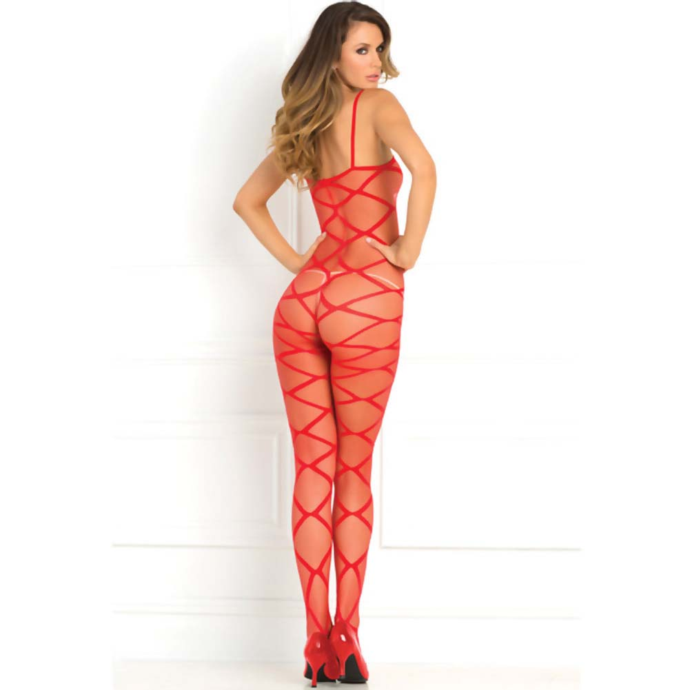 Rene Rofe Strapped Up Sheer Bodystocking One Size Red - View #2