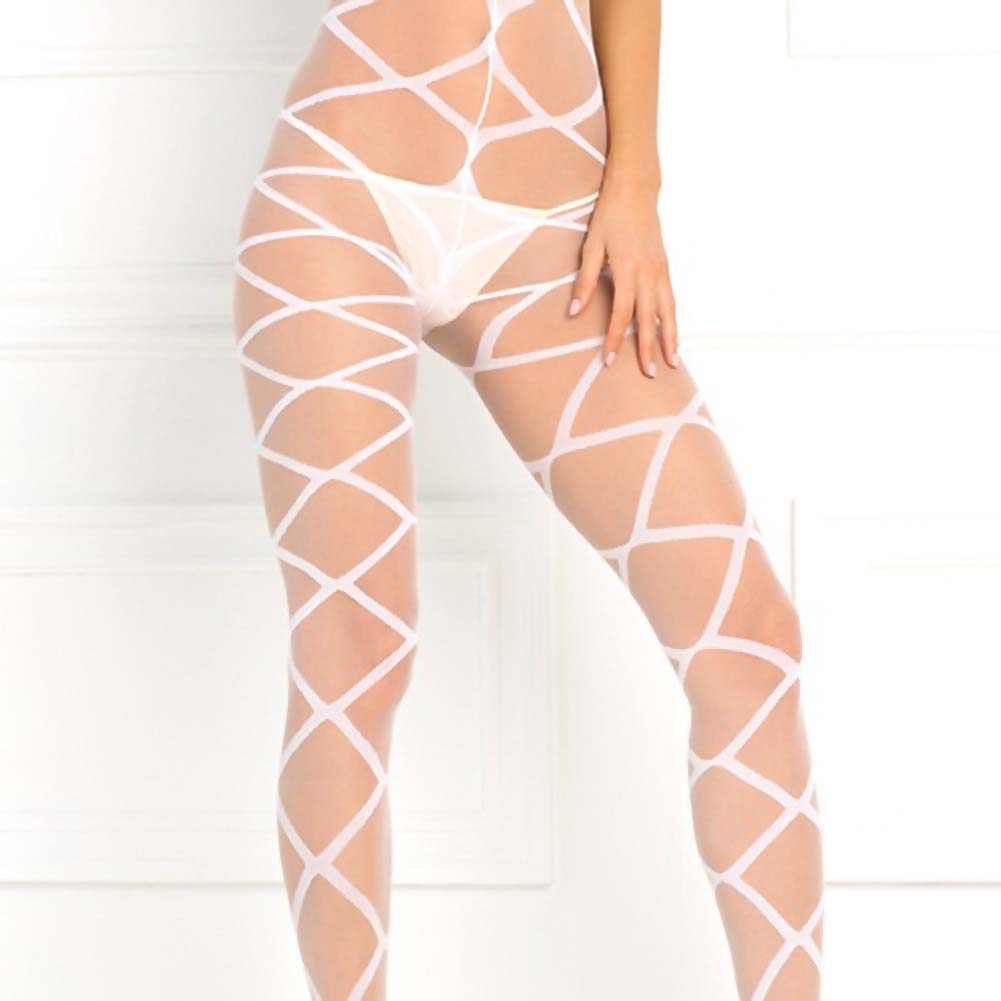 Rene Rofe Strapped Up Sheer Bodystocking One Size White - View #3