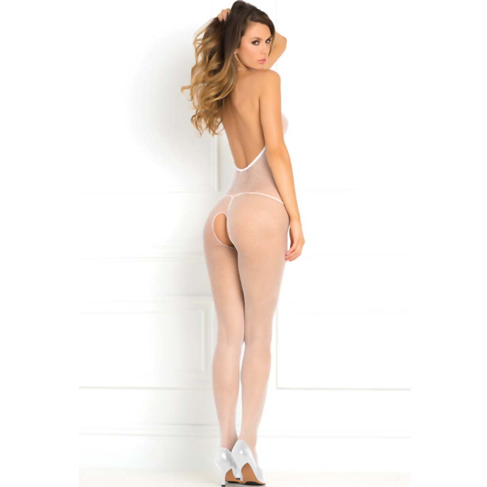 Rene Rofe Halter Fishnet Bodystocking One Size White - View #2