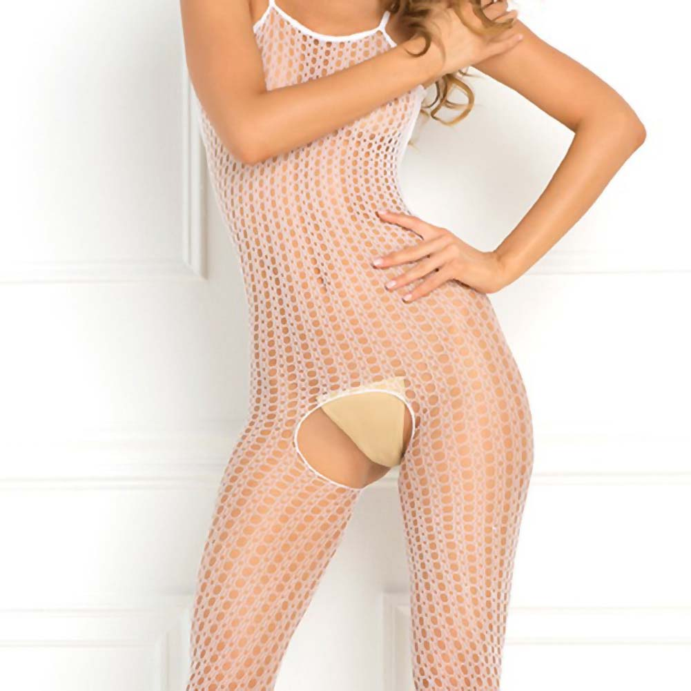 Rene Rofe Quarter Crochet Net Bodystocking One Size White - View #3