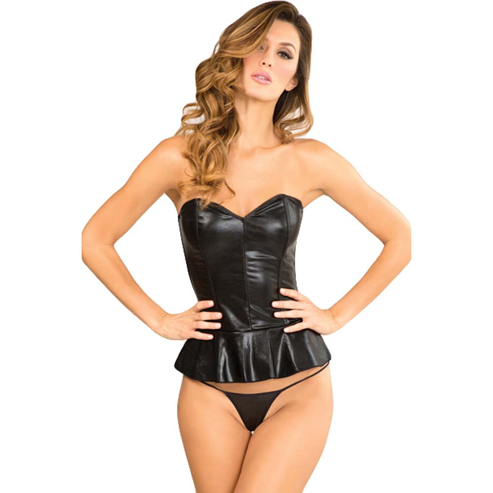 Rene Rofe Signature Peplum Edgy Leatherette Bustier and G-String Medium Black - View #1