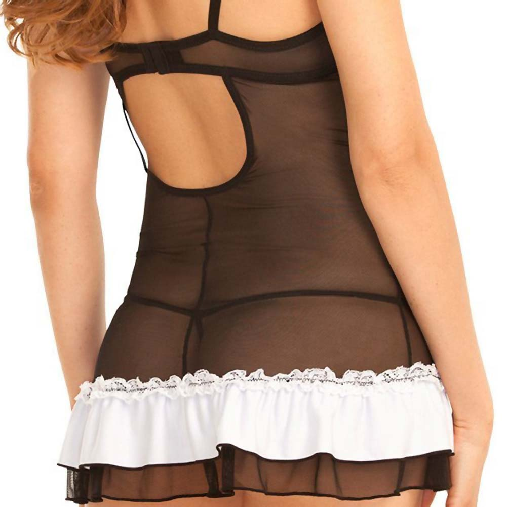 Rene Rofe Signature Mesh Chemise with Micro Ruffle and G-String Small White/Black - View #4