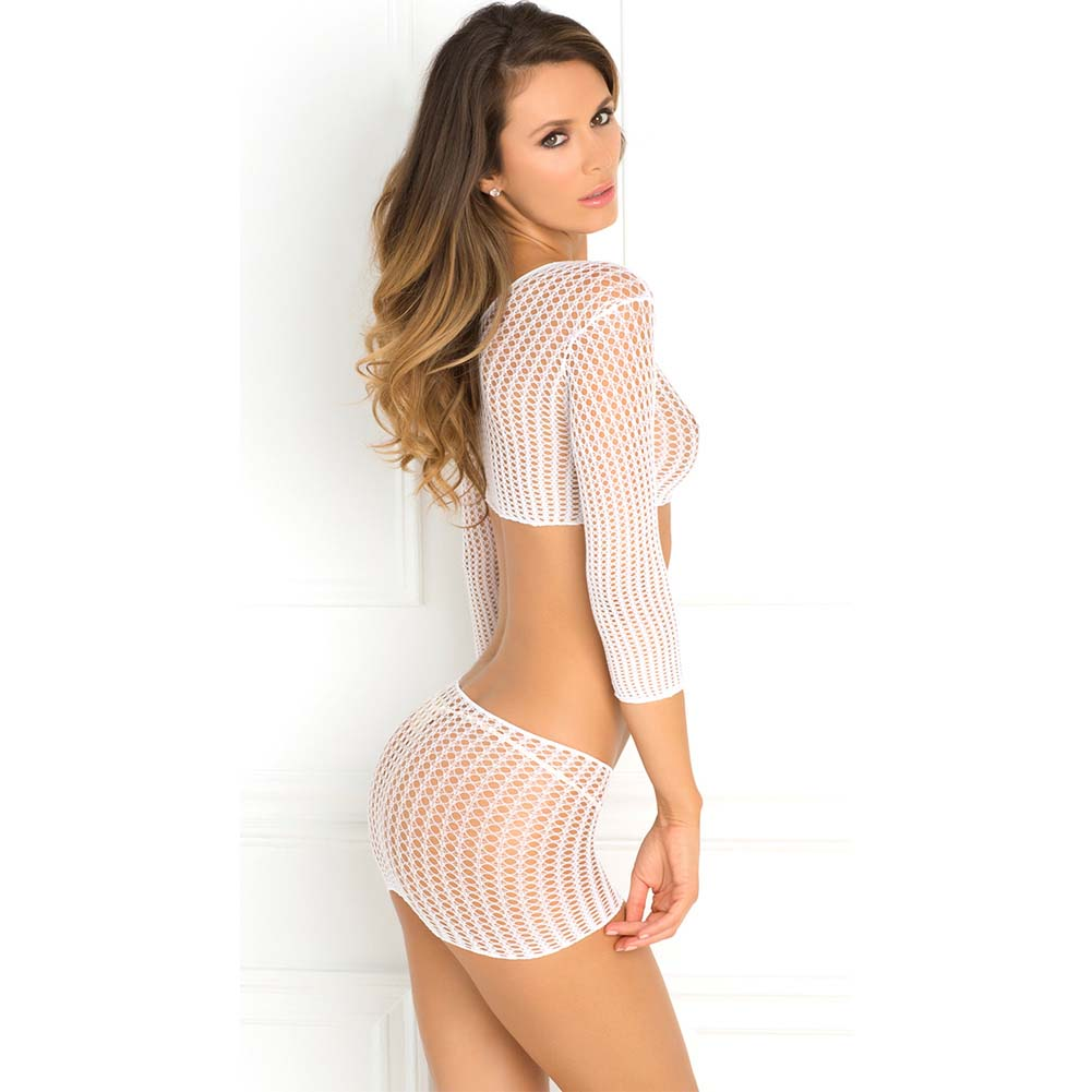 Rene Rofe Crochet-Net Crop Top and Mini Bodystocking One Size White - View #2
