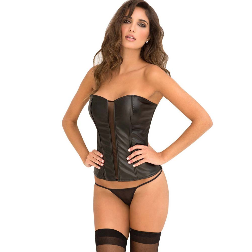 Rene Rofe Signature Leatherette Corset with Front Mesh Boning Zip Back and G-String Large Black - View #1