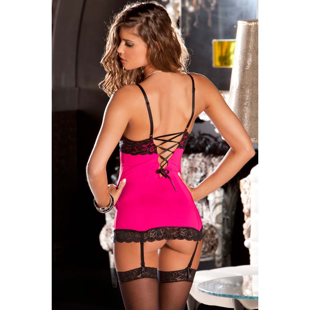 Rene Rofe Hollywood Chemise and G-String Set Small/Medium Hot Pink/Black - View #4