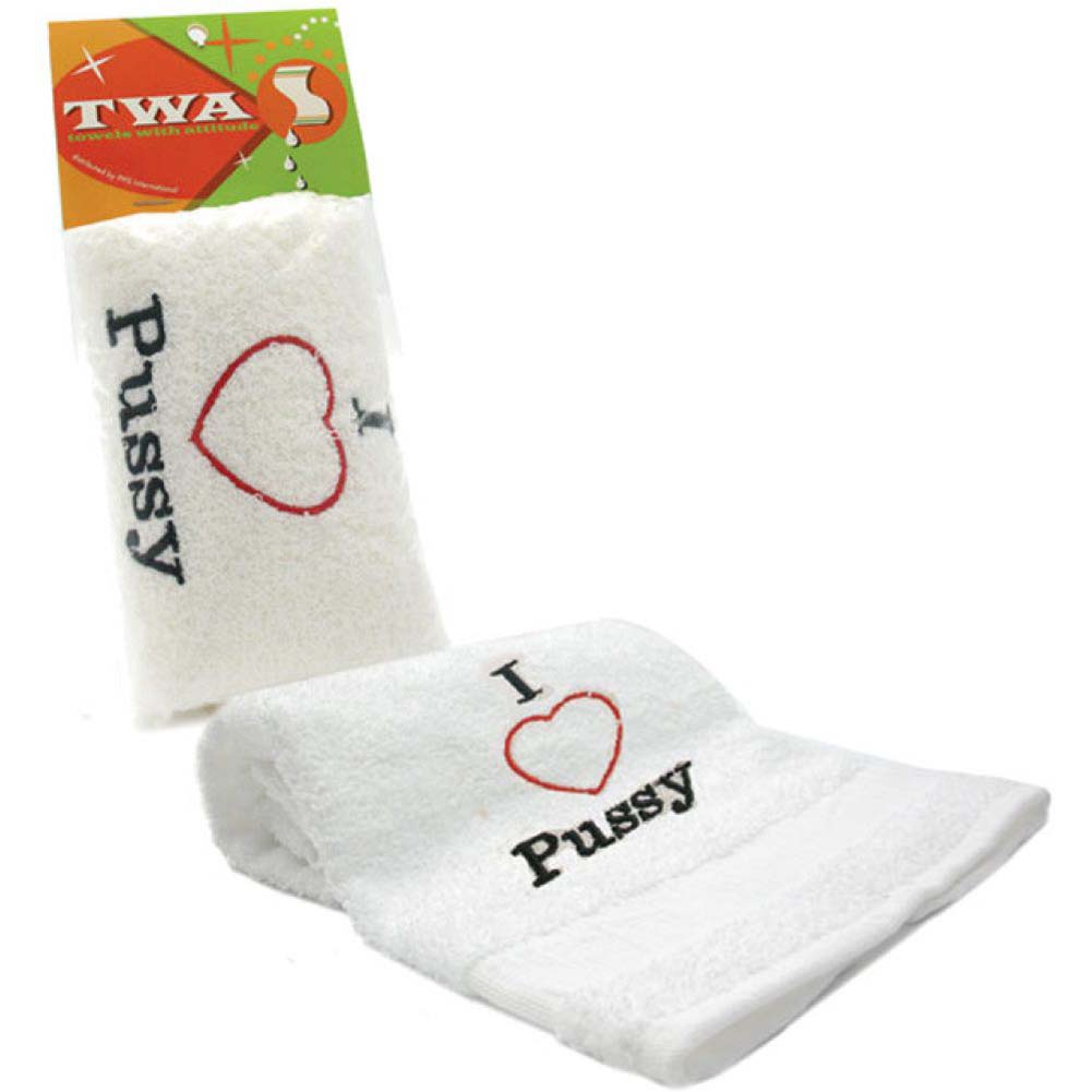 I Heart PUSSY Embroidered Towel White - View #1