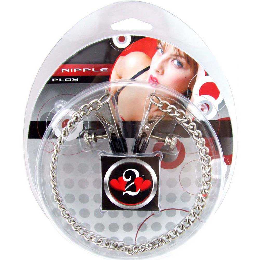 Heart 2 Heart Alligator Nipple Clamps with Chain Chrome - View #1