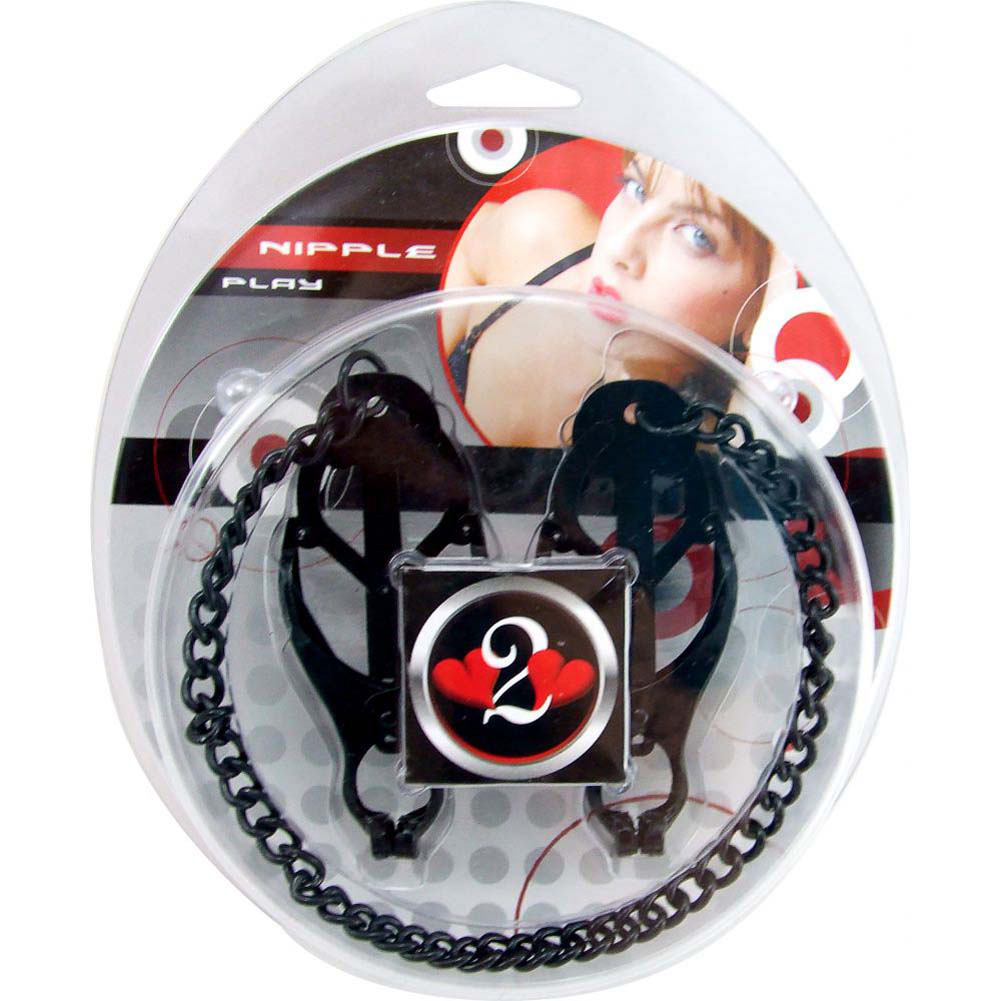 Heart 2 Heart Nipple Clamps Jaws with Chain Black - View #1