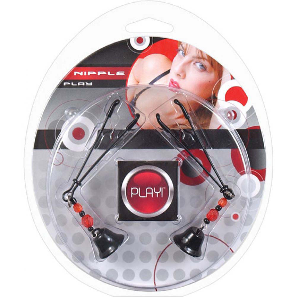 Heart 2 Heart Nipple Play Clamps with Beads and Bell Black - View #1