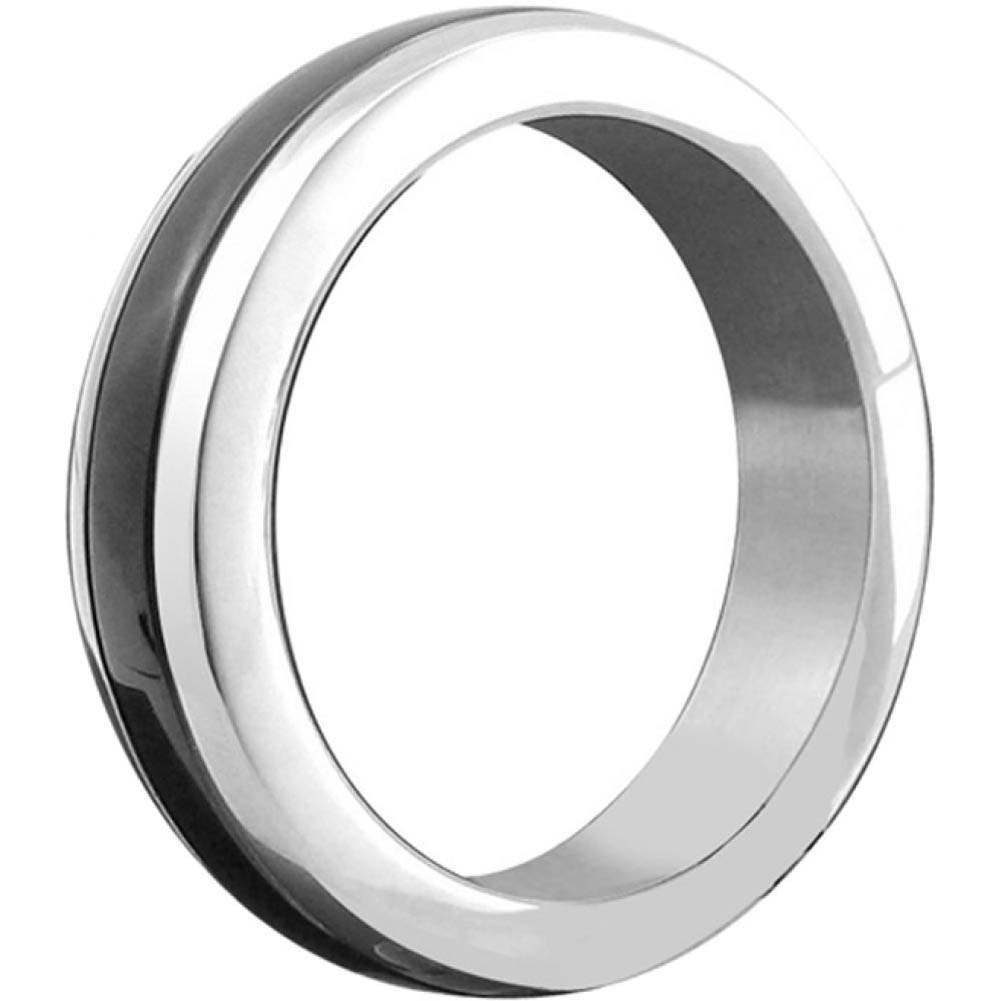 Stainless Steel Cock Ring with Black Band Medium - View #1