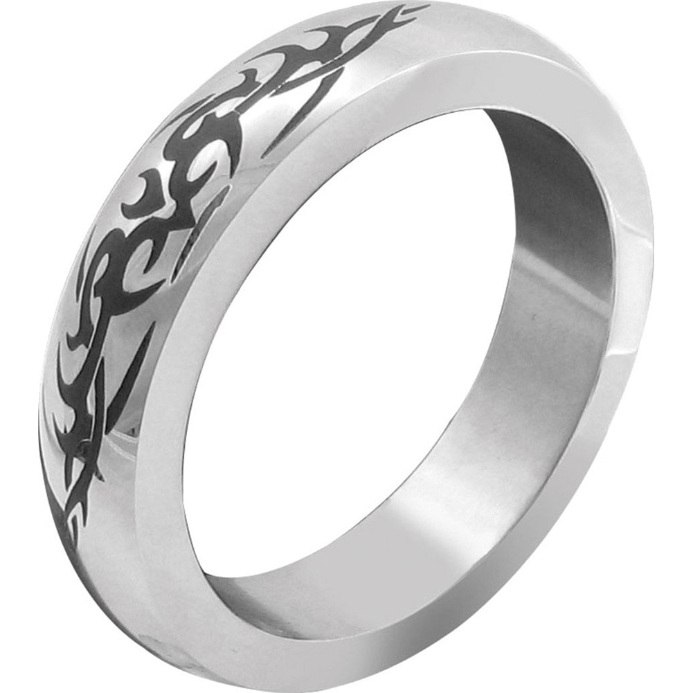 """H2H Premium Stainless Steel Cockring with Tribal Design 1.75"""" Chrome - View #2"""