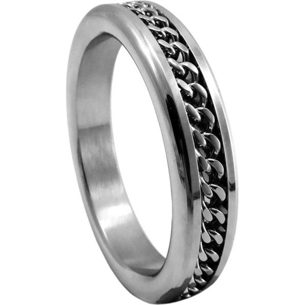 "H2H Premium Stainless Steel Cockring with Chain Design 1.75"" Chrome - View #2"