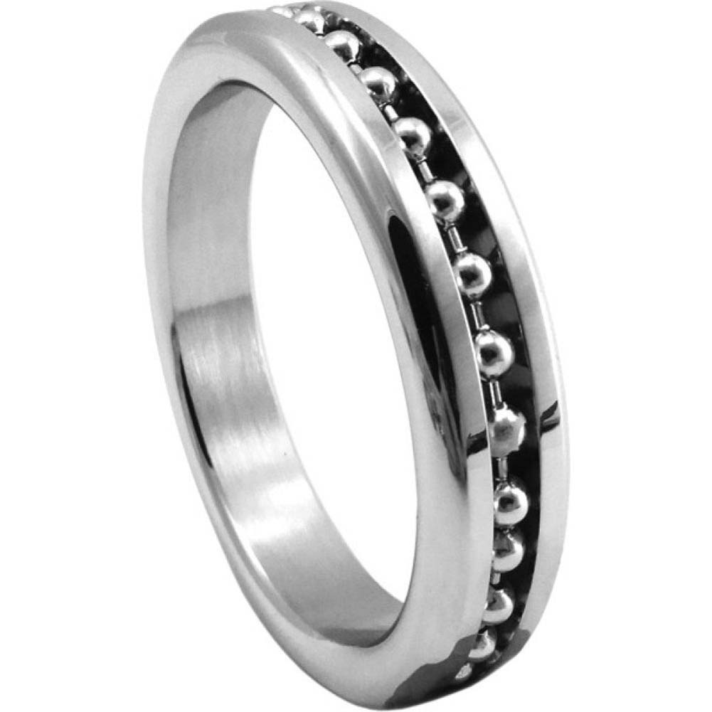 "Premium Stainless Steel Cockring with Ball Chain Inlay 1.75"" - View #2"