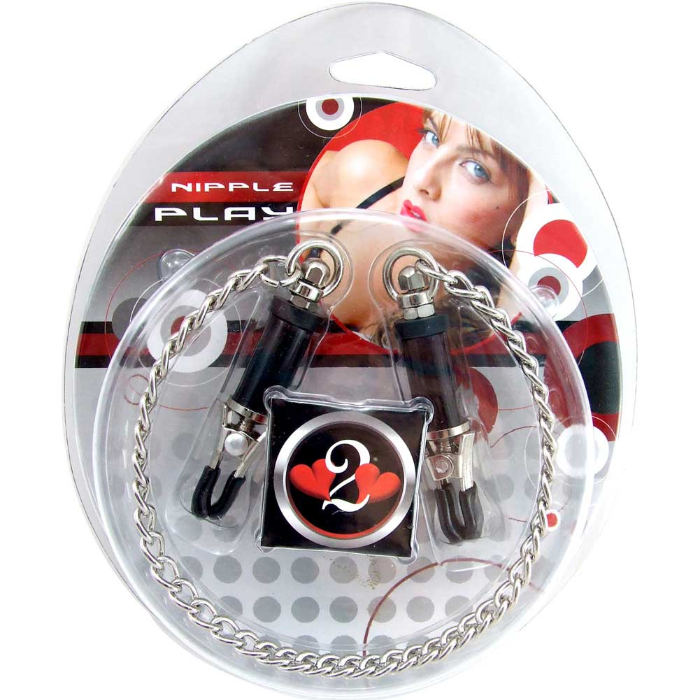 Heart 2 Heart Nipple Clamps Barrel with Chain Chrome - View #1
